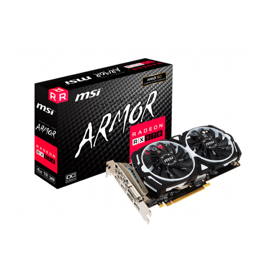 PLACA DE VIDEO  8GB RX 570 MSI RADEON ARMOR 8G OC