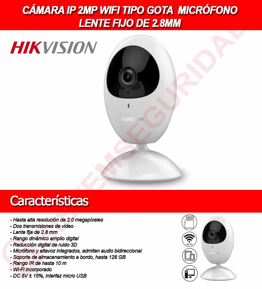 Cámara EZVIZ IP WIFI 1 MP interior. Lente 2.8 mm. Con SLOT